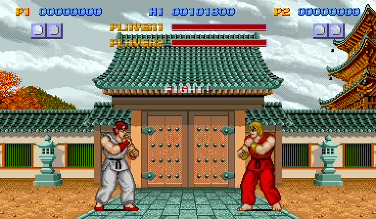 Arcade fight! Ken two player screen.