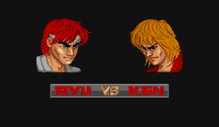 Arcade Ryu vs Ken two player screen.