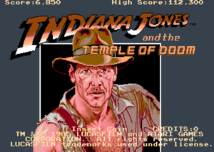 Indiana Jones and the Temple of Doom (Atari) title screen.
